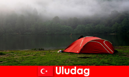 Camping holiday with family in the forests of Uludag Turkey