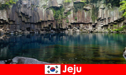 Exotic long-distance travel to the beautiful volcanic landscape of Jeju South Korea