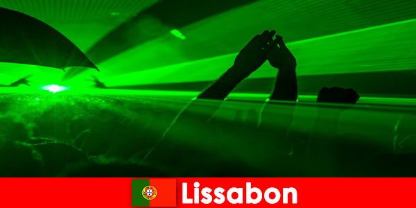 Popular disco nights on the beach for young party tourists in Lisbon Portugal